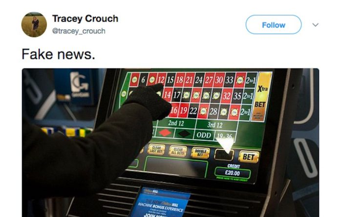 COinslot - Tracey Crouch FOBTs fake news ireland