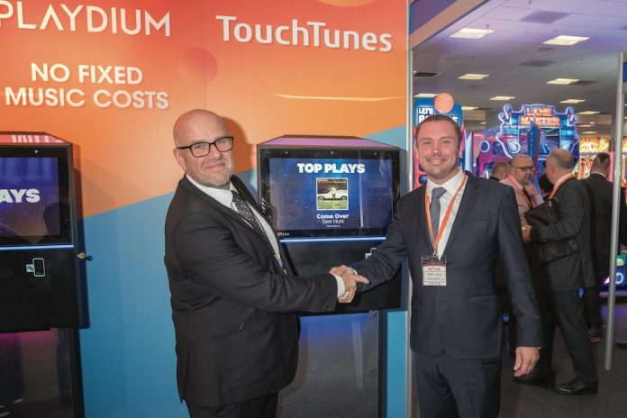 Marc Bird and Toby Hoyte agree the 100 order Playdium deal Leisureplay