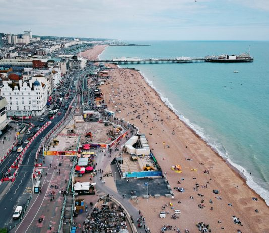 Brighton aerial view roads