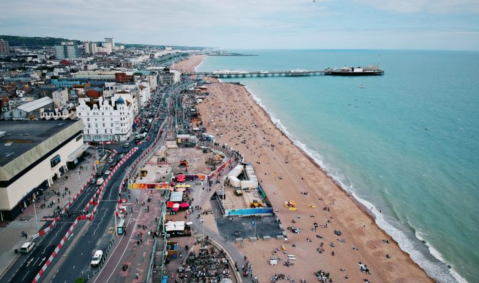 Brighton aerial view roads